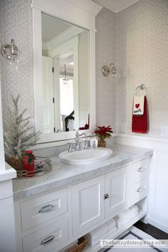 I'm so excited to share my Christmas Powder Bathroom with you all today! It didn't take much to make this room festive for the holidays!