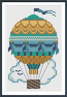 Teal Hot Air Balloon Cross Stitch Pattern Instant Download