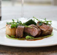 Roast lamb rump, kitchen garden mint & pea puree, fondant potato and spring greens.