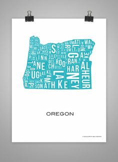 Map  Oregon State County Map  Poster art United States by ColdCode, $35.00