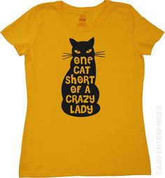 Cute Womens Cat T-shirt One Cat Short Of A Crazy Lady Tshirt Geekery Geek Feline Cats Kitten Kitty Girls Gift Sister Mother Wife Tee on Etsy, £9.58