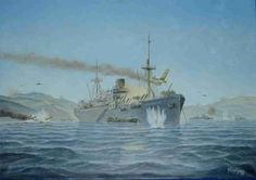 m.s. Tjisadane in de baai van Okinawa, 1945.