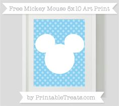 Free Baby Blue Dotted Pattern Mickey Mouse 8x10 Art Print