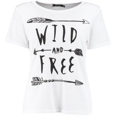 Skye Wild Free Slogan Ribbed T-Shirt ($2.63) ❤ liked on Polyvore featuring tops, t-shirts, shirts, white ribbed t shirt, white tee, ribbed tee, ribbed shirt and white top