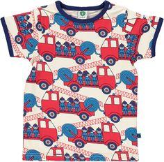 Short sleeved t-shirt with firetruck