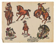 into the history of American tattoo design – in pictures - -Skin deep: glimpse into the history of American tattoo design – in pictures - - PRINTS Traditional Tattoo Horse, Traditional Tattoo Inspiration, Traditional Tattoo Old School, Flash Art Tattoos, Cowgirl Tattoos, Western Tattoos, American Classic Tattoo, American Tattoos, Outlaw Tattoo