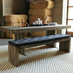 Kitchen Table With Bench distressed wood table & bench. metal legs. industrial modern