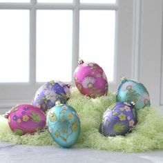 """RAZ Imports - 5"""" Glittered Glass Easter Egg Ornaments"""