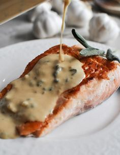 Pan-Crisped Salmon with Light Dijon Cream and Garlic Butter Breadcrumbs