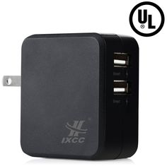 [ UL Certified ] iXCC® Dual USB 3.4 Amp (17 Watt) SMART High Capacity [High Power] AC Travel Wall Charger - ChargeWise (tm) Technology High Speed Charging for Apple iPhone 6/ 6 plus/ 5s/ 5c/ 5/ 4s/ 4; iPad Air 2/ iPad Air; iPad mini 3/ iPad mini 2/ iPad mini; Samsung Galaxy S6 / S6 Edge / S5 / S4; Note Edge / Note 4 /Note 3 /Note 2; the new HTC One M8/ M9; Google Nexus and More [Black]