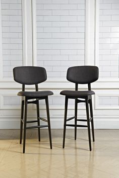The timber backrest wraps around this elegant upholstered bar stool as the wings of a butterfly. Breakfast Bar Stools, Cheap Chairs, High Stool, Stool Chair, Lawn Chairs, Counter Stools, Hanging Chair, Armchair, Furniture Design
