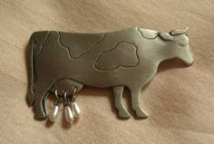 """Cow Pin with dangling Pearl Utters  """"Must have for the Cow Collector!!"""""""