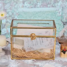 Large Foot Rectangle with Slot on Top Geometric Glass Card Box image 5