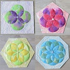 Learn how to sew fabric folded flowers with 4,5,6,8 petals in ANY SIZE you need. Finish the flowers on individual blocks. #flowerquiltpattern #flowerquilt #foldedflowers