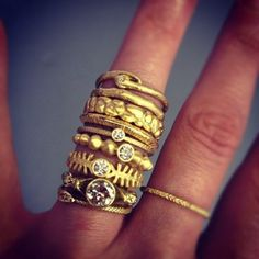 stacked rings- Could do this with my sapphire! One ring with the gem and more thin rings to go with it