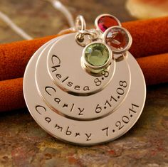 Hand Stamped Mommy Jewelry, Personalized Sterling Silver Big Family Layered Necklace - All of us