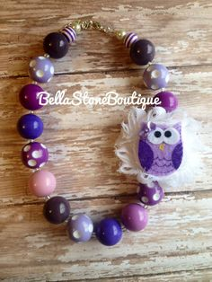 Who gives a hoot? This pretty purple owl chunky necklace does!! This is super cute and RTS! 20mm beads and 18long(16+2extender) with different