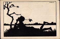 Scherenschnitt Ansichtskarte / Postkarte Carus, Junge liegt im Gras, Gewässer
