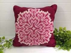 Vintage Pink and Burgandy Bargello 13 Accent Pillow with by kchoos