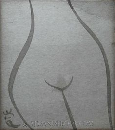 A Japanese Book: SHIMIZU Kon. Original Nude Sumie / Ink Painting, Signed