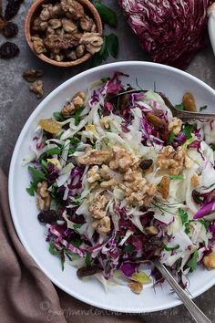 Red Cabbage, Radicchio and Endive Salad Recipe | A Winter Salad via @Sylvie | Gourmande in the Kitchen