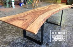 Nullarbor Sustainable Timber offers a range of finely crafted, designer timber tables. Timber Table, Slab Table, Recycled Timber Furniture, Outdoor Furniture, Outdoor Decor, Spotted Gum Decking, Industry Models, Reclaimed Timber, Basin