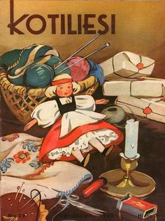 Kotiliesi Magazine cover by Martta Wendelin, Childrens Christmas, Nordic Christmas, Christmas Art, Vintage Christmas, Vintage Books, Vintage Cards, Graphic Design Illustration, Illustration Art, Baumgarten
