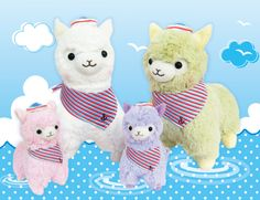 An Alpaca (Grass Mud Horse) is a species of South American camelid, known for it's soft fluffy coat. With their sweet little faces, silky soft fur and candy colors, they are too hard to resist! Kawaii Alpaca, Llama Plush, Fluffy Coat, Anime Merchandise, Candy Colors, Plushies, Sailor, Pikachu, Sewing Projects
