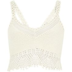 River Island White crochet bralet top ($34) ❤ liked on Polyvore featuring tops, crop tops, shirts, bralet, tank tops, knitwear, sale, white, women and bralette tops