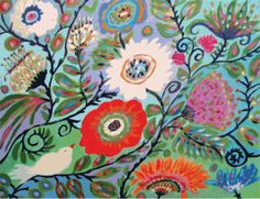 Whimsical Bird and Flowers Art PRINT 11x14 by karenfieldsgallery, $24.00
