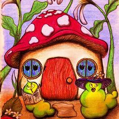 W is for Worms by Nalinne Jones. Two wacky worms warbling and whistling under the flowers outside their mushroom home, pastel pencil.