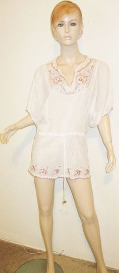 FREELANCE 100% Cotton Gauze Embroidered Boho Mexican Festival Hippie Tunic Top S #Freelance #Tunic #Casual