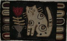 Hand Hooked Rug Early Style Primitive Cat and Tulip Rug | eBay