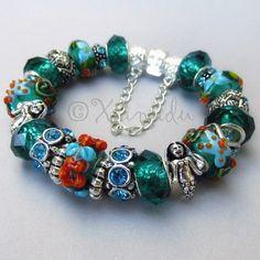 Starfish European Charm Bracelet With Teal Artisan Murano Glass Beads