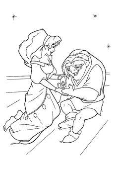 kleurplaat Klokkenluider van de Notre Dame - Esmeralda en Quasimodo