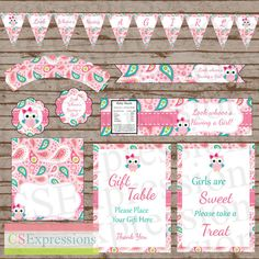 Pink Paisley Owl Baby Shower Printable Party Package