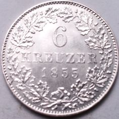 Amazon.com : WURTTEMBERG 1855 6 KREUZER...FOREIGN COIN : Everything Else