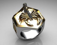 Unique Mens Ring Scorpion Shield Paved Body Ring Sterling Silver and Gold with Black Diamonds By Proclamation Jewelry | by ProclamationJewelry