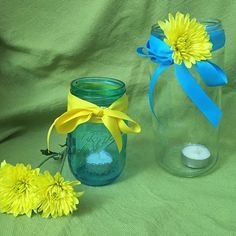 Carry a sweet mason jar vase down the aisle instead of a traditional bouquet