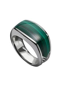 sterling silver and malachite ring by David Yurman. love green stone etched with black