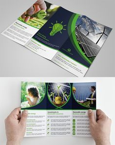 Green Energy Tri-fold Brochure Green Energy Tri-fold Brochure Template that is super simple to edit and customize with your own details! Keynote Template, Psd Templates, Brochure Template, Renewable Energy, Solar Energy, Brand Guidelines Template, Free Video Background, Travel Ads, Book Design Layout