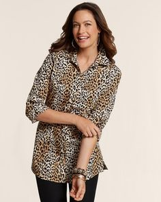 Chico's Effortless Leopard Luxe Lenae Top #chicos, I so love this top that I ordered it in every color...and am waiting for more patterns and colors to emerge.  No iron and easy to wear over leggings, with a skirt or slacks...and looks like a fitted jacket.  Love, love, love, this FAV top