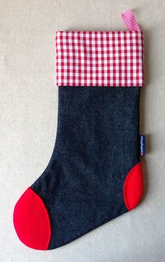 Christmas Stocking in denim, gingham and felt (red-red) £12.50