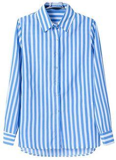 Blue White Vertical Stripe Lapel Chiffon Blouse US$31.97