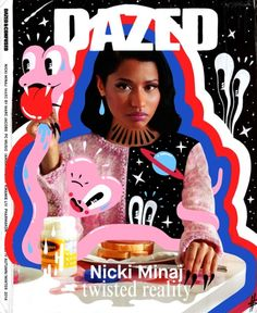 "Excited to have my Nicki Minaj doodle bomb cover as part of this show at ATM gallery in Austin Texas. ""Into You is a two day art event hosted by Molly Soda and Rachel Bell at ATM Gallery in Austin, TX. During the afternoon and evening, it will be. Graphic Design Posters, Graphic Design Inspiration, Game Design, Layout Design, Dazed Magazine, Cool Magazine, Magazin Covers, Magazin Design, Illustrator"