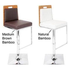 @Overstock - Sustainability meets modern design with the Upscale barstool. Both polished chrome footrest and unique square trumpet base add depth to the padded seating area and bamboo back.http://www.overstock.com/Home-Garden/Upscale-Bamboo-Wood-Adjustable-Barstool/7653128/product.html?CID=214117 $142.99