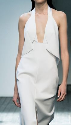 White structured dress; runway fashion details // Dion Lee Spring 2015