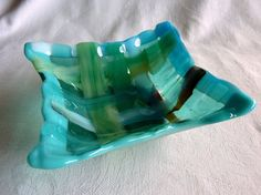 Fused Glass Dish in Woven Strips of Turquoise Green by bprdesigns. Can be used as a beautiful candy dish or serving bowl!