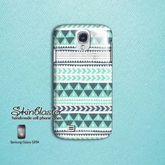 Samsung galaxy S3 case, Samsung Galaxy S4 case. Blue Aztec design. $20