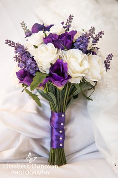 Violet and pearls wedding bouquet, bridal bouquet, purple wedding flowers, heather and roses, purple ribbon and pearl hand tied wedding flowers Purple Wedding Bouquets, Lilac Wedding, Wedding Flower Arrangements, Bridal Flowers, Flower Bouquet Wedding, Wedding Centerpieces, Floral Wedding, Floral Arrangements, Hawaii Wedding